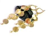 Hammered Disk Earrings, Gold Earrings, Earrings Dangle, Drop Dangle Earrings, Gold Plated Silver, Jewelry for Women, Everyday Earrings