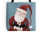 Santa and His CAT Helpers - CHRISTMAS Folk Art Tote Bag