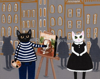 Claire in Paris - Portrait - Whimsical Cat Folk Art Print 5x5, 8x8, 10x10, 12x12