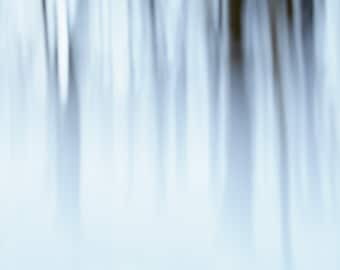 Abstract Winter Forest Picture - Winter Landscape Picture - Minimalist Nature Pictures - Abstract Photography - Large Blue Abstract Art