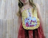 UPLOAD sale---spb Ellie style dress with sewn in ruffle apron and m2m Hairband scarf-- sizes 1-7 available