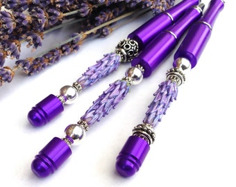 Lavender Glass Bead Purple Pen in Gift Box
