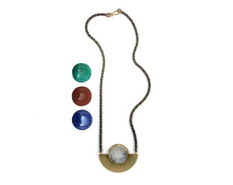 Meridian Arc Necklace //  Hand-fabricated with turquoise, lapis, dendritic agate, or red jasper