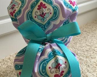 Turn Up Ponytail Scrub Hat in Romance in Lavender