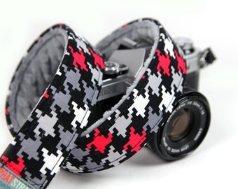 Cool Camera Strap - Houndstooth Scotty with Gray Minky