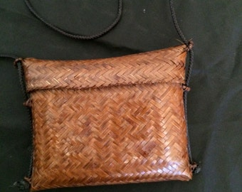 Vintage 1980's Lacquered Woven Palm Disco Bag Purse