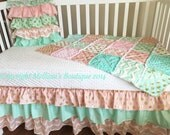 Custom Designer Blush Mint & Gold Metallic Shabby Chic 3 Tier Ruffled Crib Skirt Lux Bumperless Bedding Set MADE To ORDER
