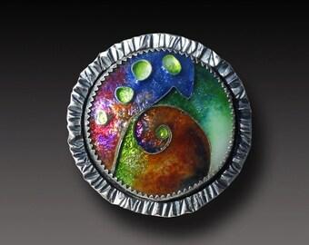Cloisonne Enamel  Ring Sterling Silver handmadet Ring Size 8.25