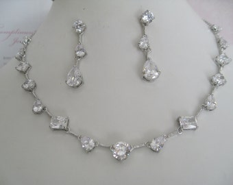 Bride Bridesmaids Multi shape Cubic Zirconia Necklace and earrings Set Bridal Jewelry Bridal Accessories Bride Necklace and Earrings Set