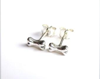 Tiny Bone Stud Earrings, Silver Bone Earrings, Tiny Cartilage Studs, Dog Bone Earrings