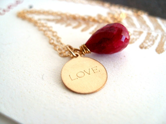 Red Ruby necklace LOVE jewelry July birthday Charm necklace Ruby pendant for her Under 75