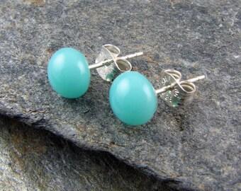 Turquoise Blue Stud Earrings / Handmade Glass Jewelry / Small Casual Stud Earrings