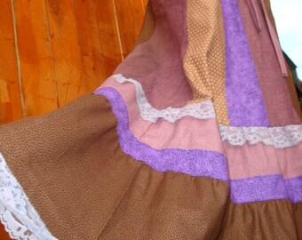 Hippie Patchwork Skirt Hippy VINTAGE Corduroy Lace Maxi Long Full Floor Length Cotton Patchworh Brown Purple Tiered Retro elyse oRiGiNaLs