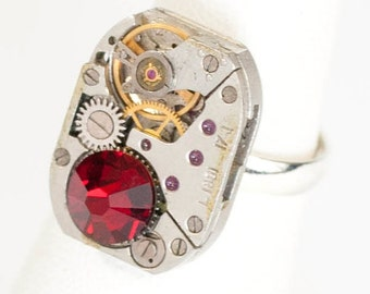 Steampunk Silver Ajustable Ring with Vintage Watch Movement and Sparkling Ruby Red Swarovski Crystal by Velvet Mechanism