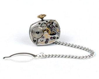Steampunk Gentleman's Tie Tack Pin with Handsome GRUEN Vintage Watch Movement and Winding Stem by Velvet Mechanism