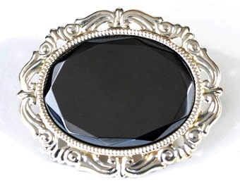 Gothic Victorian Gem-Cut Hematite Hemalyke Mourning Pin Brooch with Silver Filigree Ornate Frame by Velvet Mechanism