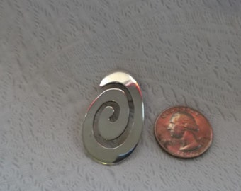 Vintage MEXICAN Modernist Sterling Silver Swirl  Brooch/PIn