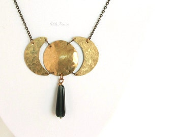 Brass moon necklace, golden moon phase necklace, lunar cycle necklace, full moon, crescent moon