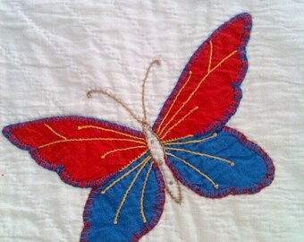 vintage butterfly pillow cover no. 3 in red and blue