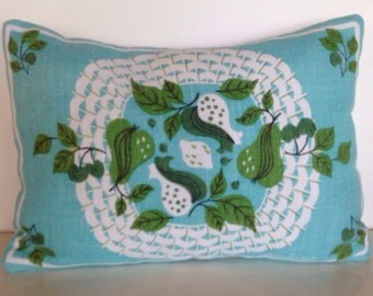 vintage mid century perfect  aqua with pear pillow cover by ivan bartlett