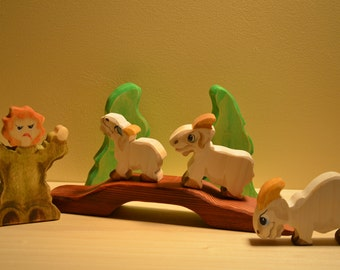 Three Billy Goats Gruff wooden play set waldorf style.