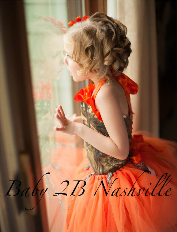 Orange Camo Flower Girl Tutu  All Sizes Girls