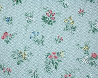 1950's Vintage Wallpaper - Blue White Pink and Yellow Flowers on Blue