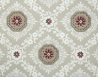 1940's Vintage Wallpaper - Brown Dark Red and White Geometric