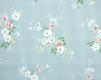 1930s Vintage Wallpaper by the Yard - Pink and White Flowers on Blue, Floral Wallpaper