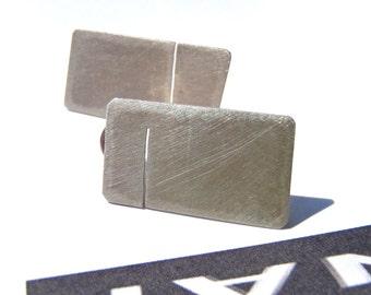 Slot rectangular earrings in brushed sterling minimal studs