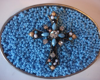 Belt buckle Womens -Blue Beaded Rhinestone Cross - wearable art