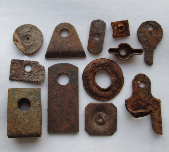 12 Small Pieces Rusty Metal Found Objects w/ Round Holes