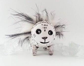 Polymer Clay Art Doll, Mixed Media Sculpture, Faux Fur, Acrylic Paint, Handmade Art Object Fur Bug
