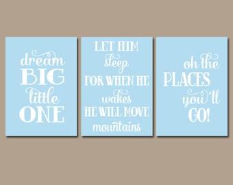 BOY Nursery Wall Art   Boy Nursery Quote Wall Art   Dream Big Let Him Sleep