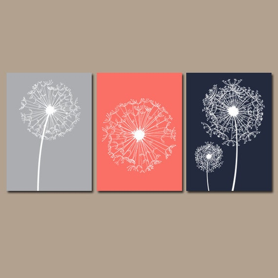 Wall art coral navy gray bedroom pictures canvas or prints bathroom