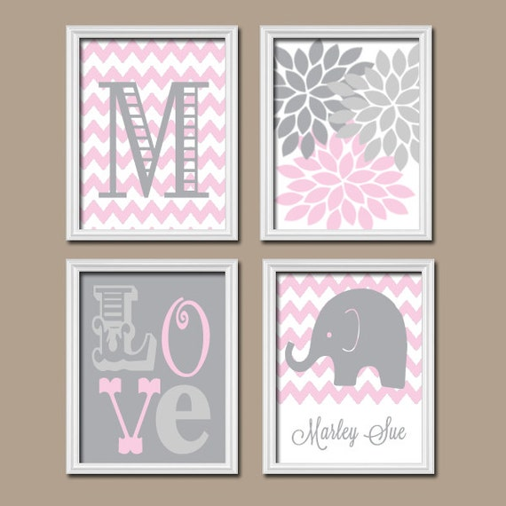 Pink And Gray Girls Baby Room: Girl Elephant Nursery Wall Art Pink Gray Nursery Baby By