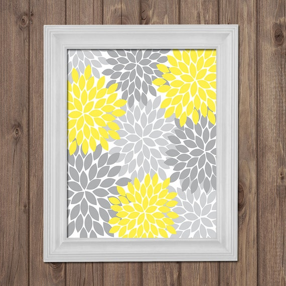 yellow gray flower wall art bedroom pictures canvas by. Black Bedroom Furniture Sets. Home Design Ideas