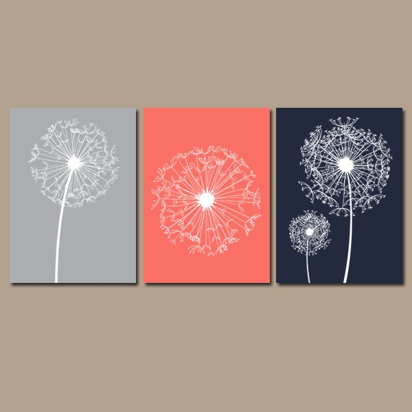 DANDELION Wall Art Coral Navy Gray Bedroom Pictures CANVAS Or