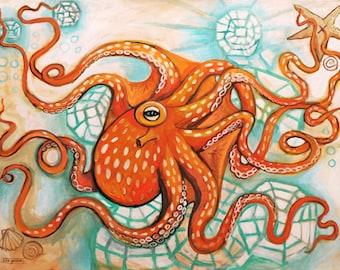 Orange Octopus - Print