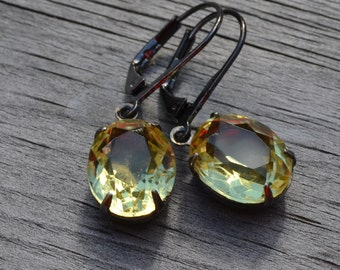 Jonquil Rhinestone Estate Earrings, Gunmetal Lever Back, Vintage Yellow, Bridesmaid Wedding Party