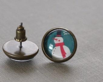 Snowman Earrings, Frosty Snowman, Antique Brass, Winter Earrings, Christmas Snowman, Glass Earrings, Stud Earrings, Post Earrings, Holiday