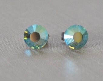 Iridescent Green Rhinestone Studs, Luminous Green Crystal Studs Swarvoski Rhinestone Bridesmaid Earrings Petite and Dainty, LapinDuPrintemps