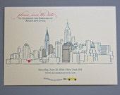 25, Single Sided, Modern, Custom Illustrated, New York City Skyline Save the Dates, NYC