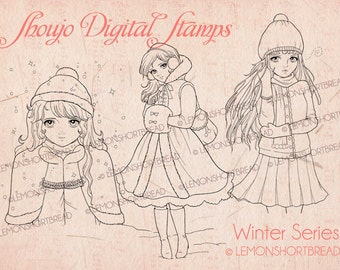 Digital Stamps Winter Girls Shoujo, Christmas Snow Digi Download, Coloring Pages, Retro Fashion, Clip Art, Scrapbooking Supplies