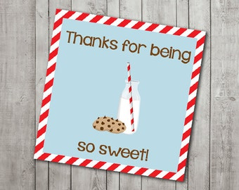 Milk & Cookies Thank You Tag/Topper