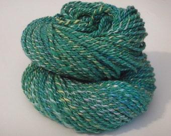 Handspun Yarn- Green Cormo Wool and Blue Silk- 135 yds