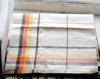 Vintage NOS Linen Tablecloth Orig Tag Label Orange Yellow Brown Plaid Stripe