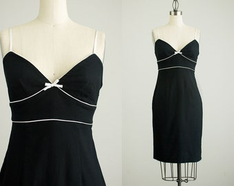 90s Vintage Black And White Cotton Body Con Sun Dress / Size Small / Medium