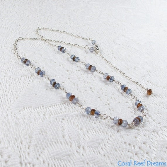 Iolite Andalusite Necklace - Brown Andalusite and Lavender Iolite Sterling Silver Gemstone Rosary Chain Necklace (N0420) - SALE 40% OFF