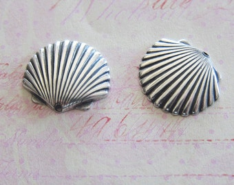 NEW 2 Silver Seashell Charms 3628